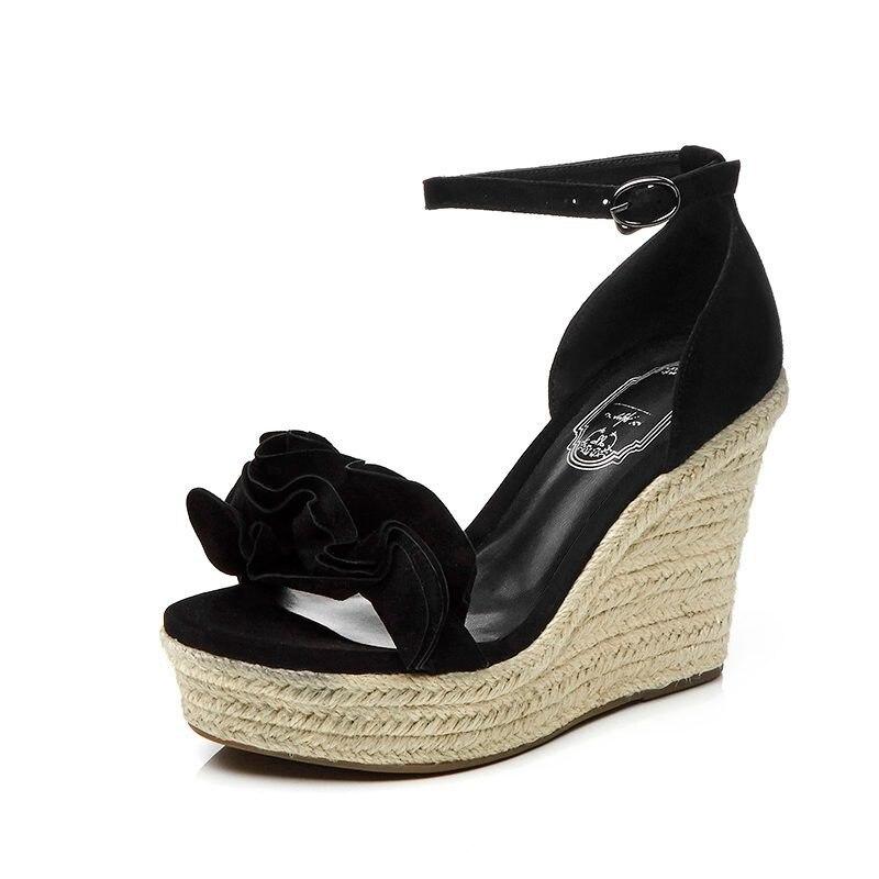 Ayakk.'ten Yüksek Topuklular'de 2019 Moda Superstar Marka Yaz Ayakkabı Ayak Bileği Kayışı Platformu Peep Toe Kadın Sandalet Pist Takozlar Yüksek Topuklu rahat ayakkabılar L65'da  Grup 3