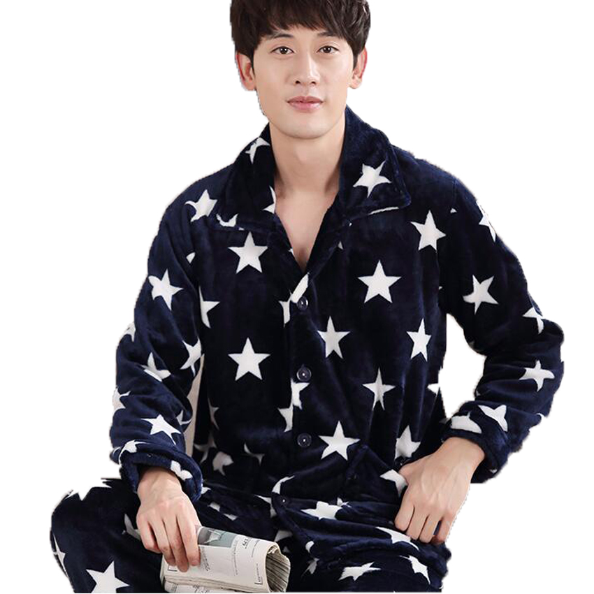 Men' Sleepwear Winter Thick Coral Fleece Pajamas Sets