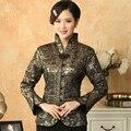 Verde escuro outono inverno New mulheres jaqueta estilo chinês casaco de cetim flor Tang terno Top feminino sobretudo S M L XL XXL XXXL M-21