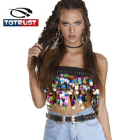 TOTRUST Sequin Tank Tops For Women 2017 Summer Sexy Tank Top Camis Vest Crop Top Fitness
