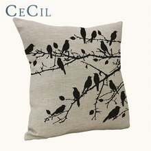 Cecil Home Linen Cotton Decorative Pillow Cover Butterfly Bird Trees Car Cushion Sofa Lumbar