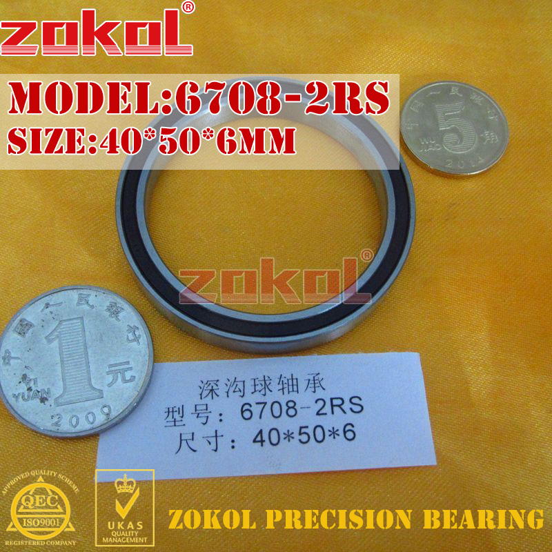 ZOKOL Bearing 6708 2RS 1000708 Deep Groove Ball Bearing 40*50*6mm