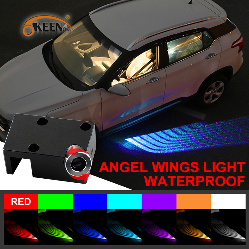 OKEEN Car Angel Wings LED welcome lights Car Door courtesy Projector Light Puddle 12V White /Red/Blue/ RGB fit all cars renault logo pattern 2w 100lm 6000k 3 led yellow white car courtesy door decoration lights pair