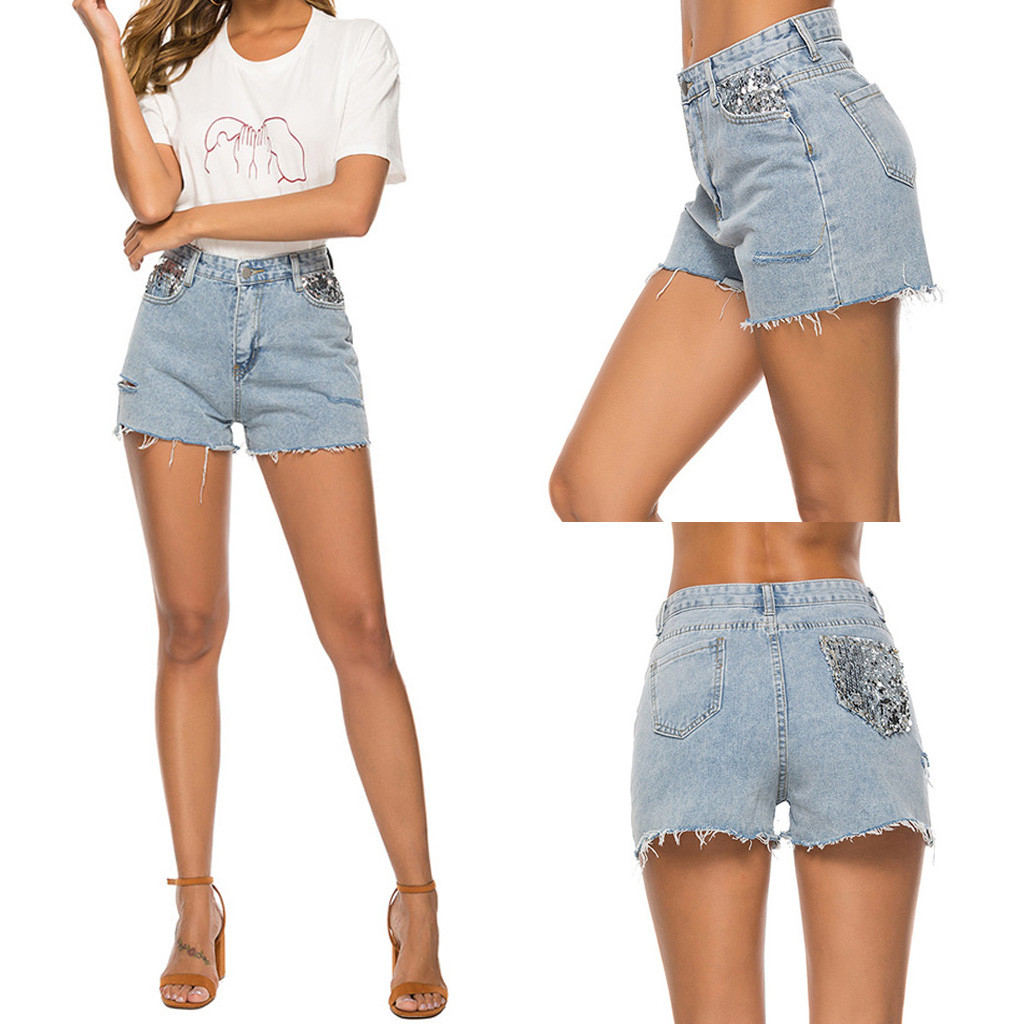 Women Summer Short Jeans Denim Female Pockets Sequined Wash Hole Denim Shorts 2019 New Arrival Casual Hot Sale  7.17