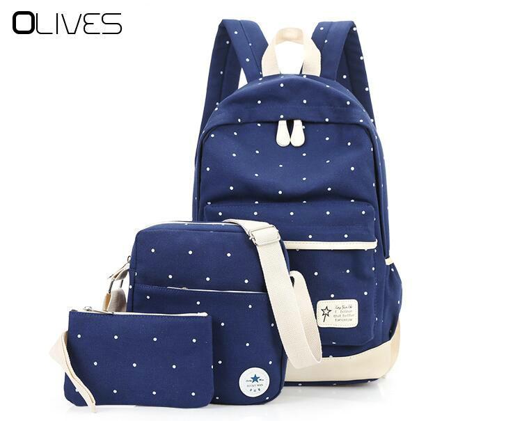 Оливки Для женщин рюкзак женский Холст Школьные рюкзаки для девочек подростков Dot Путешествия сумка для ноутбука с Кошелек 3 шт. Новый