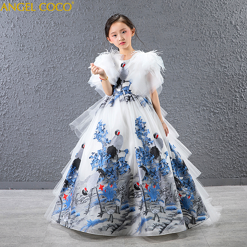 Girl Dress Feather lace Wedding Party Dress Princess Dresses Clothes Size 4 14Y Vestito da ragazza