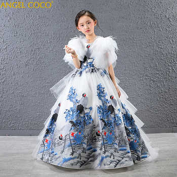 Girl Dress Feather lace Wedding Party Dress Princess Dresses Clothes Size 4-14Y Vestito da ragazza Robe fille Madchen Kleid - DISCOUNT ITEM  20% OFF All Category