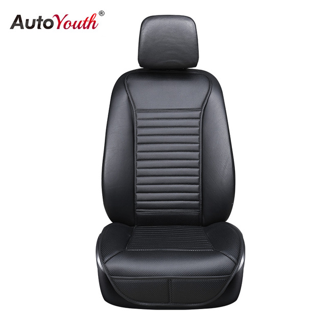 AUTOYOUTH Luxury PU Leather Car Seat Cushion Suit for Most Cars with slim Waistline Backrest 1PCS Black Car Seat Cover