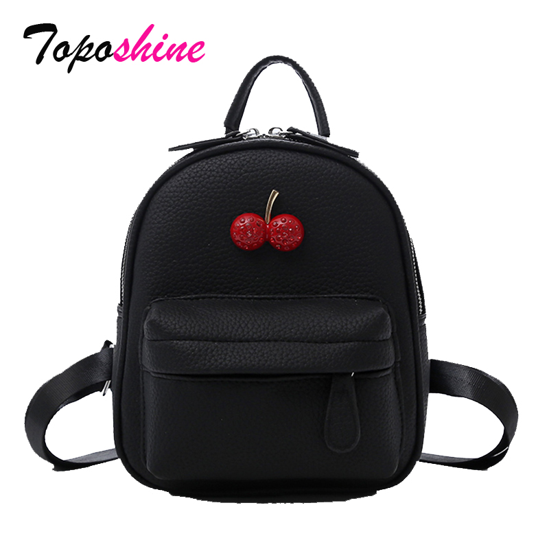 48182c60cf 2018 Summer Litchi Leather Girls Backpack Black or White Sweet Beautiful  School Bag 2 Sizes Red Cherry Fashion Women Backpack
