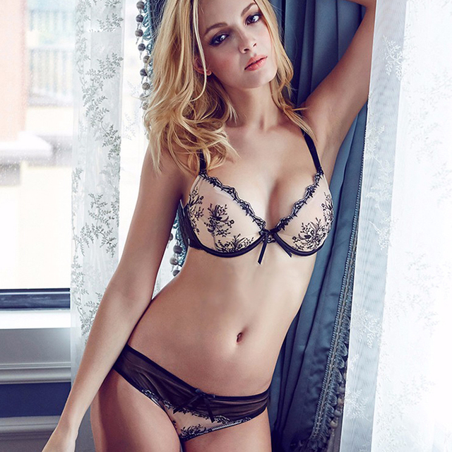 8397d747b1 Sexy Mousse Women Sexy Bra Set Lace Thin Bra Floral Embroidery Transparent  Bra Brief Set Underwear Mesh Brassiere Gauze Bra
