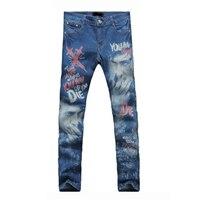 Heren Skinny Jeans Mannen Karakter patroon afdrukken Slanke Elastische Jeans Denim Biker Jeans Hip Hop Broek Zuur Gewassen Jeans Voor mannen