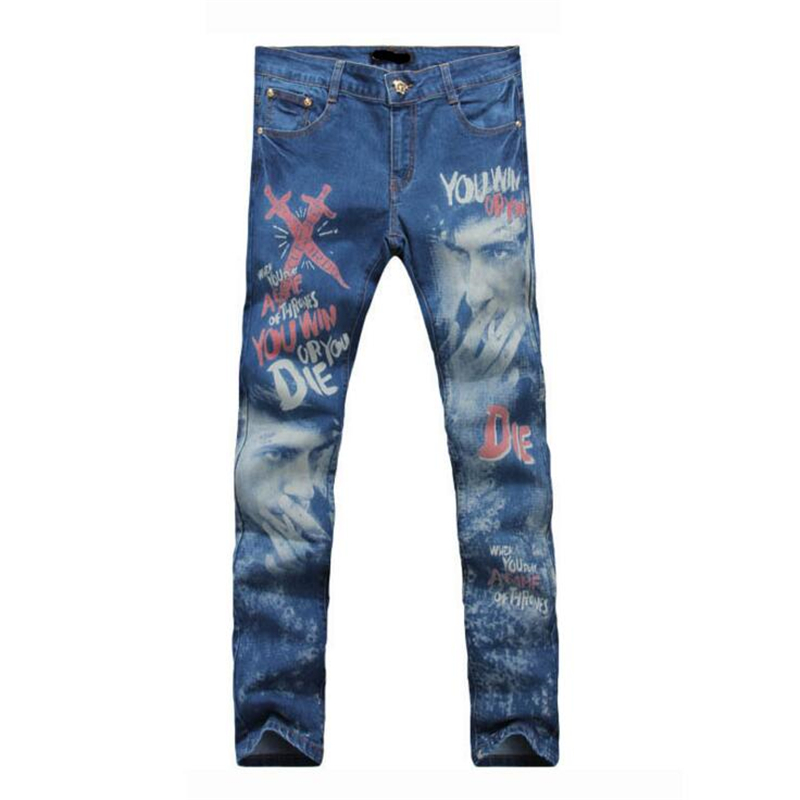 Mens Skinny Jeans Men Character pattern printing Slim Elastic Jeans Denim Biker Jeans Hip Hop Pants Acid Washed Jeans For Men new hot sales mens jeans slim straight high quality jeans men pants hip hop biker punk rap jeans men spring skinny pants men
