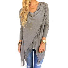 Casual Fashion Women Tassel Jacket Long Sleeve Loose Knitted Cotton Cardigan Coat Irregular Hem Poncho Outwear 2016