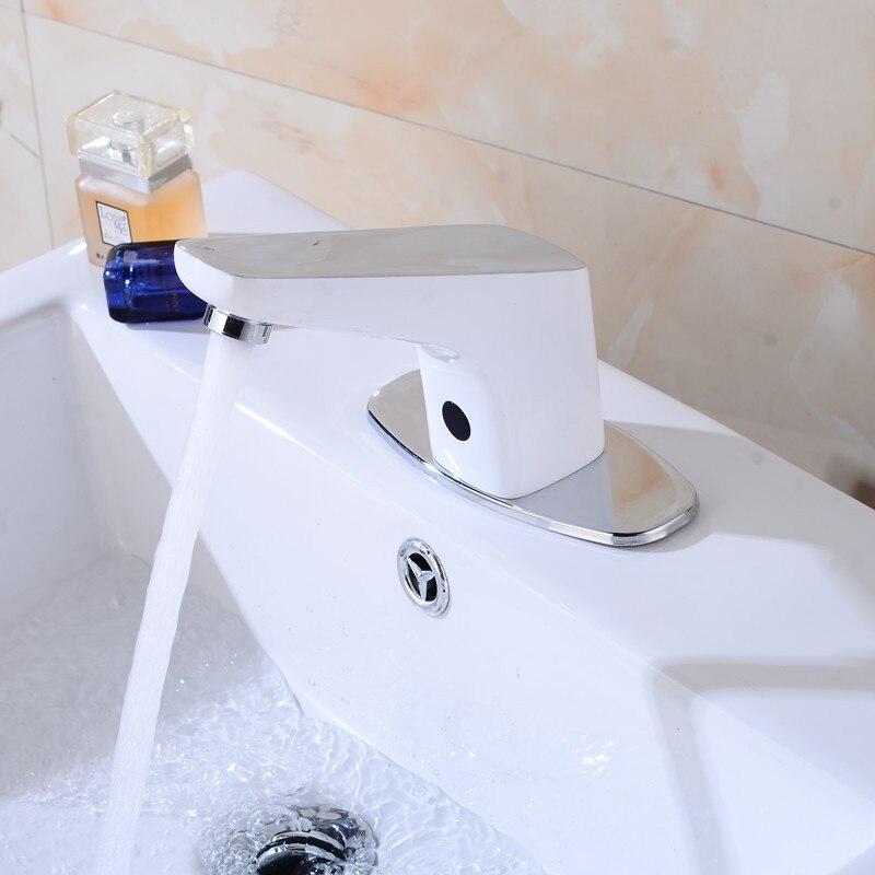 Black Chrome White Colors Water Saving Automatic Bathroom Faucet ...