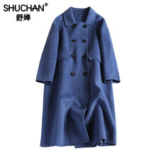 Shuchan Winter Woolen Coat Women Long Coats and Jackets Autumn 2019 New Items Double Breasted Out Wear Clothing