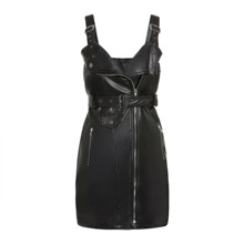 Gothic PU Leather Bodycon Dress Women Adjustable Suspenders Belt Fashion Hipster Rock Punk Streetwear Bandage Sexy Mini Dresses