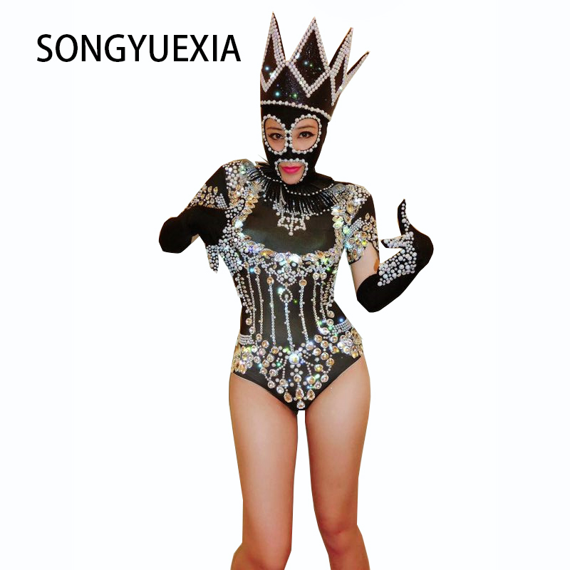 Hollow Bling Crystals Bodysuit Diamonds Sparkly Headpiece Outfit Sexy Stage Performance Women Costume Singer Birthday Wear