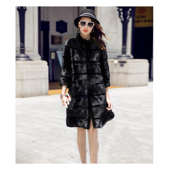 CHEWIES Real Genuine Natural Rabbit Fur Coat Women Fashion Three Quarter Sleeve Fur Jacket Outwear Over Size As Mink Fur 10.16