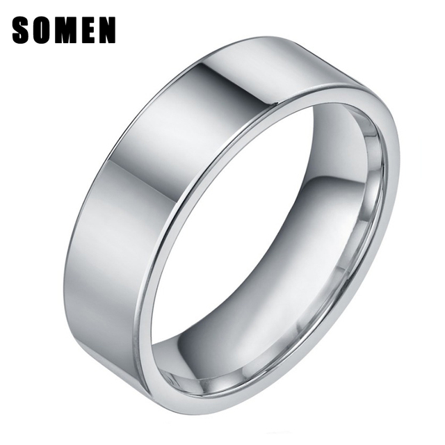8mm Mens Polished Silver Tungsten Carbide Ring Wedding Band