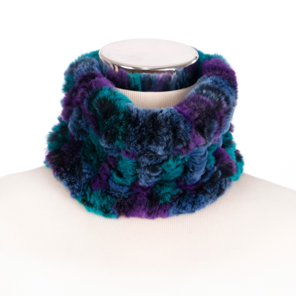 ZY86004 2016Hot Sale Winter Women Neckwarmers Genuine Knitted Rex Rabbit Fur   Scarves     Wraps   Women Neck   Scarf