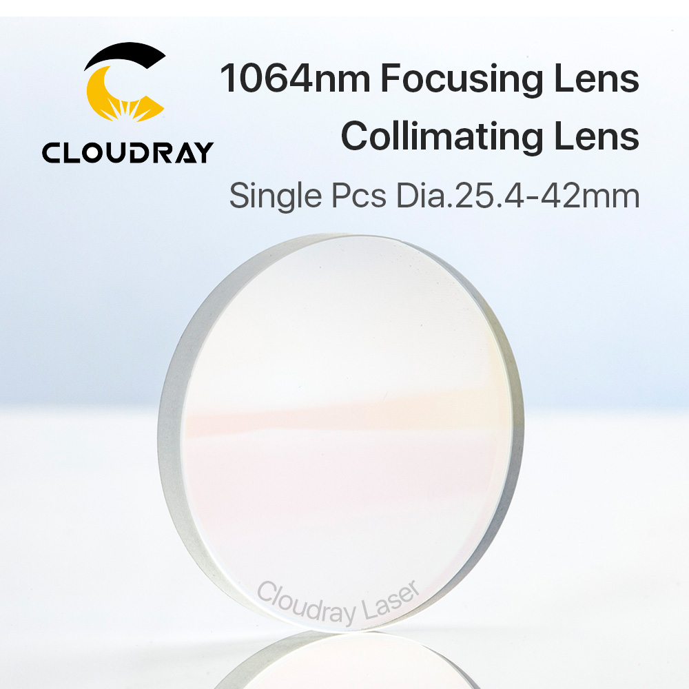 Cloudray 1Pcs Focusing & Collimating Lens Dia. 25.4 28 38.1 42 OEM Quartz Fused Silica Fiber Laser 1064nm Raytools low price quartz dia 48mm thick 3mm 1064nm protective window for engraved christmas ornamemts rubber stamp machine