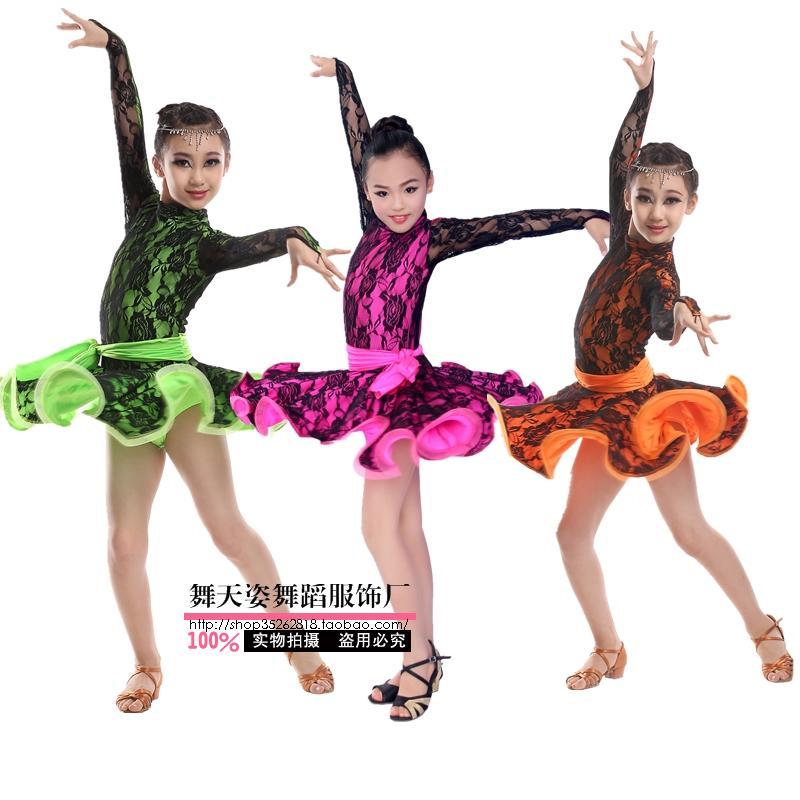 57250a00e6 Pełnoletnie Dziecko Latin dance costume sexy koronki długie rękawy latin  dance strój dla Dorosłych dzieci latin dance sukienki S-4XL