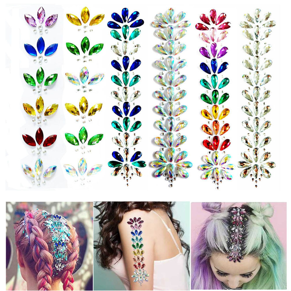 NEW 3D Crystal Forehead Headpiece Sticker Face Body Gems Rhinestone Glitter Hair Jewels Festival Shiny Temporary Tattoo Stickers