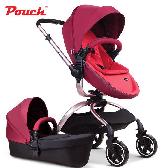 2016 pouch carrinho de bebê 2 em 1 (custo de transporte pequeno) orange couro branco café vermelho cor de carro do bebê carro do bebê de luxo