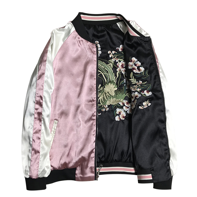 LYFZOUS 2019 Spring Autumn Floral Crane Embroidery Bomber Jacket Women Harajuku Pilot Basic Jacket Casual Bf Style Jackets Coat