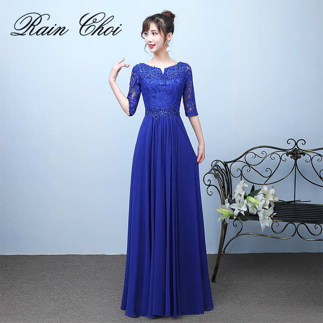 57123af1f5 Elegant Royal Blue Evening Dresses 2019 Fashion Lace Half Sleeve Robe De  Soiree Long Formal Evening Gowns Plus Size