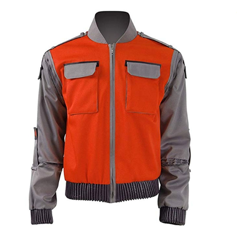 Back To The Future Marty McFly Jacket Jr Marlene Seamus Cosplay Costume Movie Outfit Orange Outwear Coat