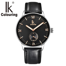 IK Colouring 2017 Roman Numeral Scale Luminous Pointer Independent Small Dial Steel Band Leather Automatic Self-Wind Men Watch