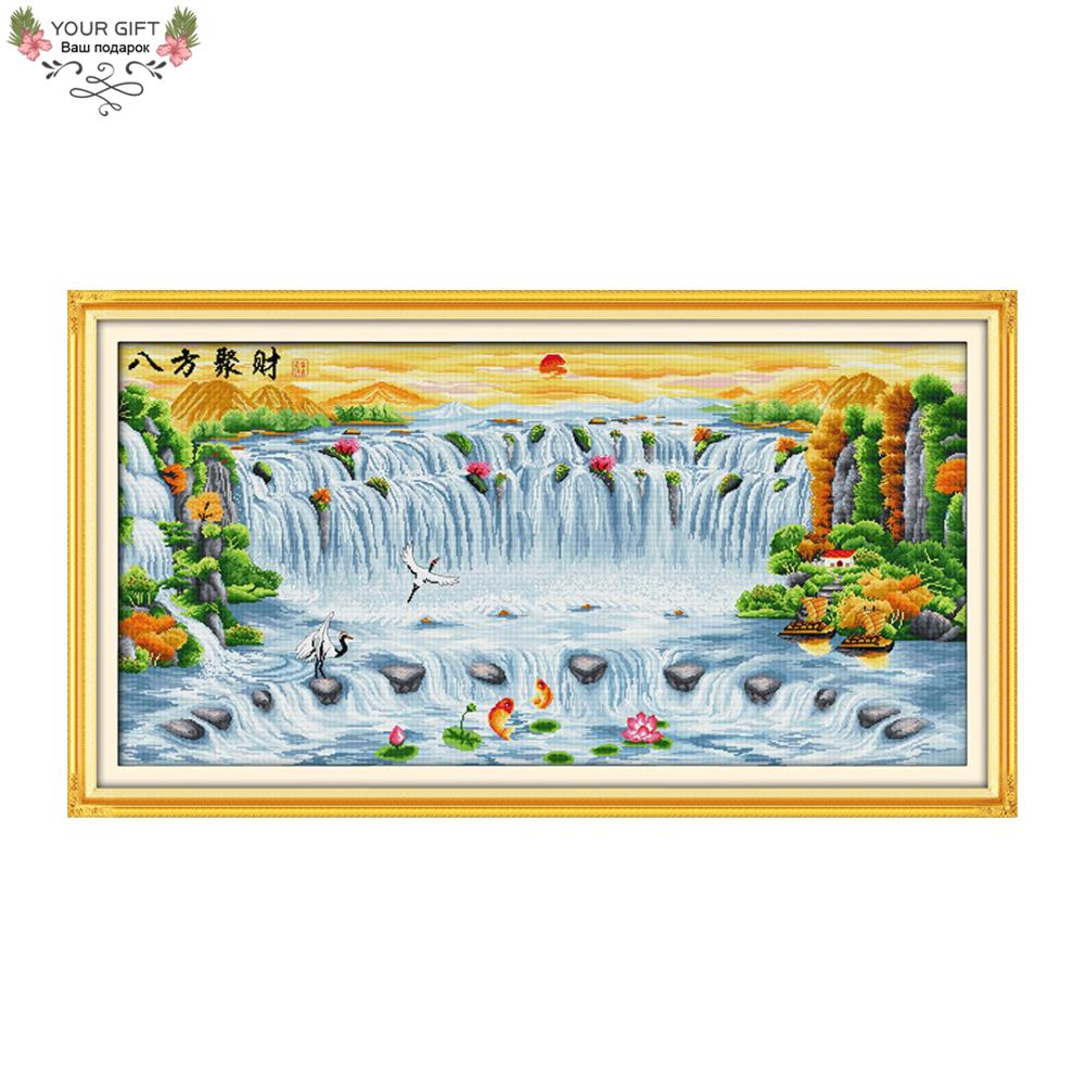 Your Gift F321(3) 14CT 11CT Counted and Stamped Home Decor China Treasures Fill The Home From All Directions Cross Stitch kits
