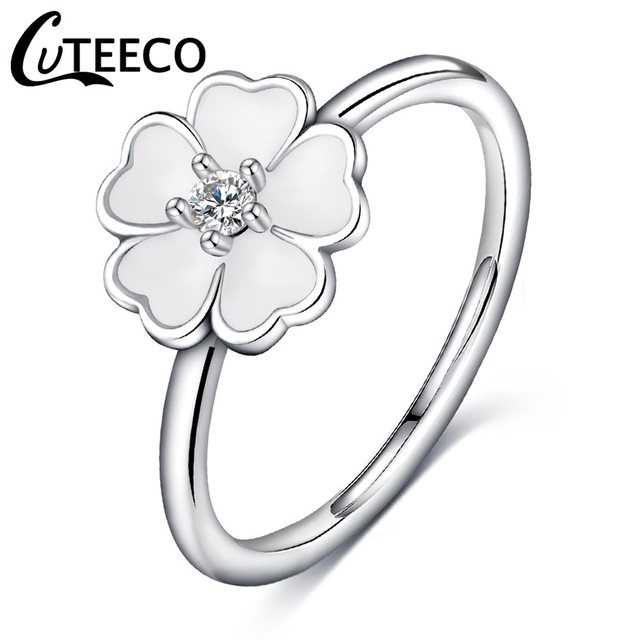 72e16e81e ... closeout cuteeco 2018 new arrivals white cherry blossoms flower pandora  rings for women finger ring fashion ...