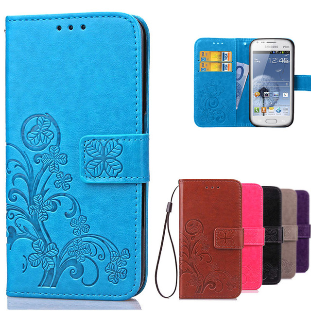 Luxury Leather Wallet Flip Cover Case For Samsung Galaxy S Duos GT S7562 GT-S7562 7562 Trend Plus S7580 S7582 GT-S7580 GT-S7582