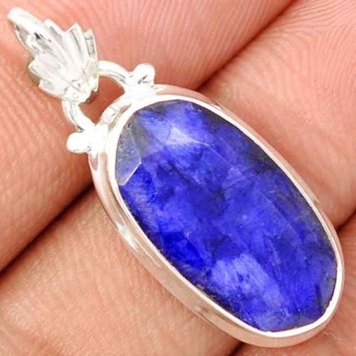 Genuine Sapphire Pendant 100% 925 Solid Sterling Silver 34 MM AP1345