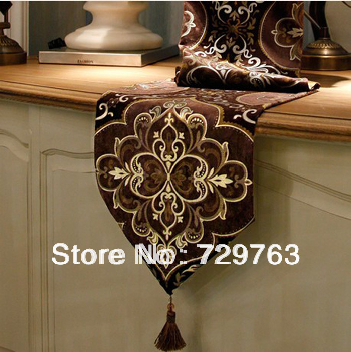 Clical Embroidered Velour Bronzing Table Runner Cloth Home Decor Textiles Coffee Tables Cover Cloths Tablecloth 30 180cm