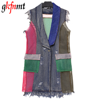 Gkfnmt 2017 Women Patchwork Grid Mesh Denim Vest Coat Big Size Sleeveless Ripped Tassel Jeans Jackets