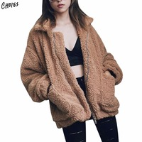 4 Colors Lapel Faux Shearling Jacket Coat Plus Size Women 2017 Winter Long Sleeve Zipper Up