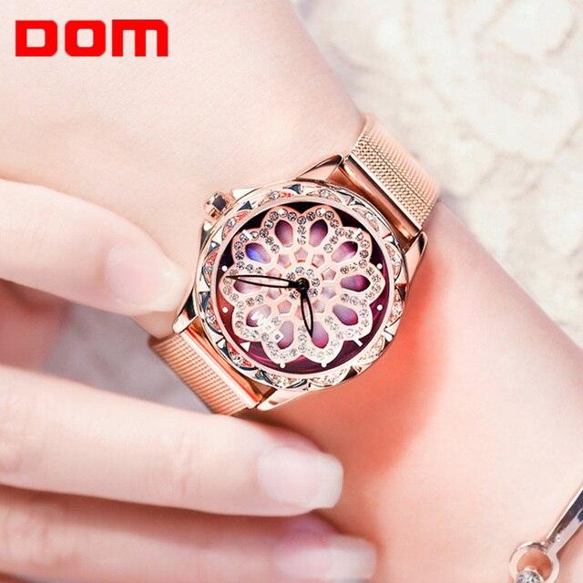 DOM cao cấp đầy sao Đồng hồ nữ thiết kế rỗng xoay 360 độ quay số thời trang nữ Đồng hồ đeo tay thạch anh Vòng tay đồng hồ
