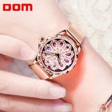 DOM lusso stellata di vigilanza delle donne della cavità di disegno di 360 gradi di rotazione quadrante casual quarzo di modo della signora orologio da polso bracciale orologio