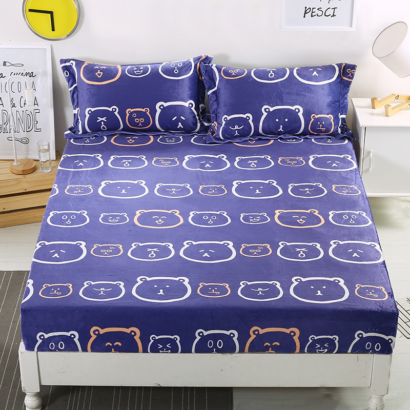 Marvelous Autumn Winter Flannel Mattress Cover Blue Color Fitted Sheet Cute Bear  Printed Bed Sheets Warm Bed Cover XF313J14 In Sheet From Home U0026 Garden On  ...