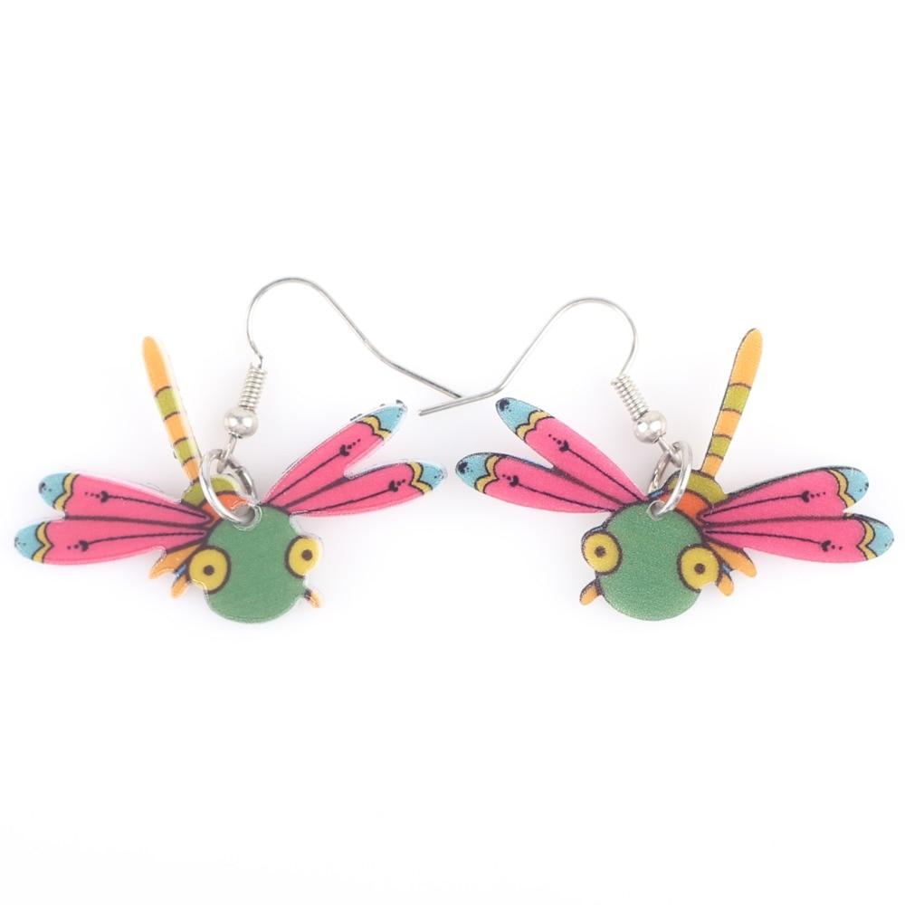 b52b05faf Newei gota brincos libélula acrílico novo 2017 design bonito  primavera verão estilo mulher meninas jóias acessórios brincos animais