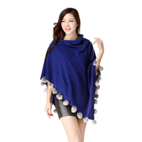 Dilly Fashion twisted knitted cashmere blended fur balls shawl for ladies DLR010