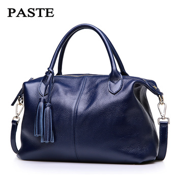 NEW 100% REAL Genuine leather Women Handbags Fashion Brand designer Tassels Boston bags Soft Cow leather women messenger bags