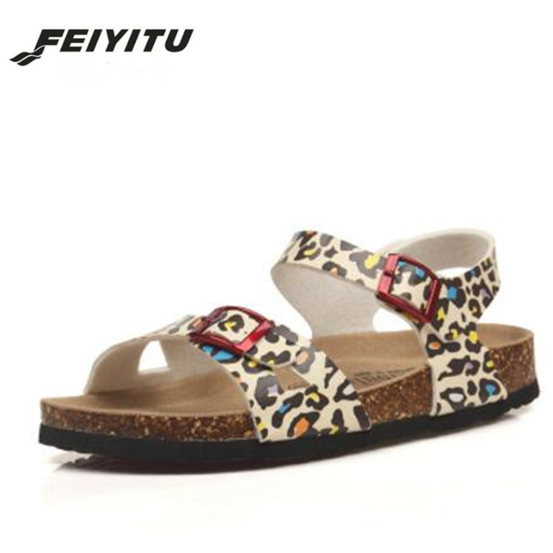 FeiYiTu Fashion Double Buckle Cork Sandals Flat with 2018 New Women Summer Beach Patchwork Casual Shoe in Low Heels from Shoes