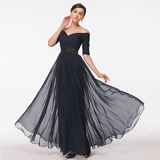 a01d9c1f47 Off Shoulder Navy Blue Evening Gown With Sleeves A-Line Chiffon Long Formal  Dress Women Wear Custom Size