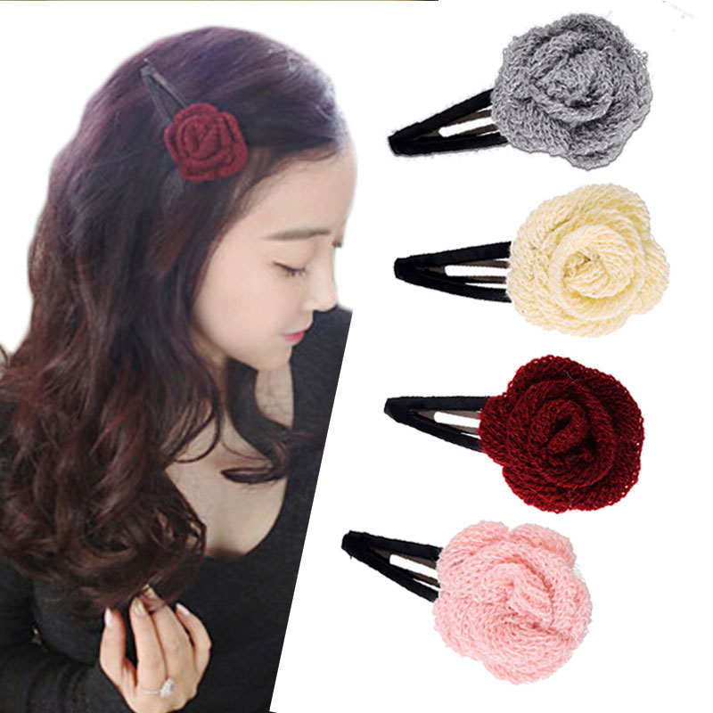 M MISM Kids Girls Fashion Floral Hair Clip High Quality Hair Accessories for Kids Hairgrips winter knitted Hairpins Headwear 6pcs lot kids glitter color hair snap clip kids stars headwear five pointed stars hairpins hair accessories