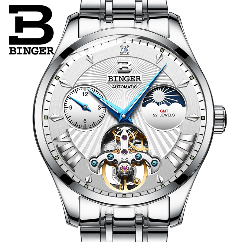 Switzerland Mechanical Watch Men Binger Role Luxury Brand Men Watches Skeleton Wrist Sapphire Men Watch Waterproof B-1186 wrist switzerland automatic mechanical men watch waterproof mens watches top brand luxury sapphire military reloj hombre b6036