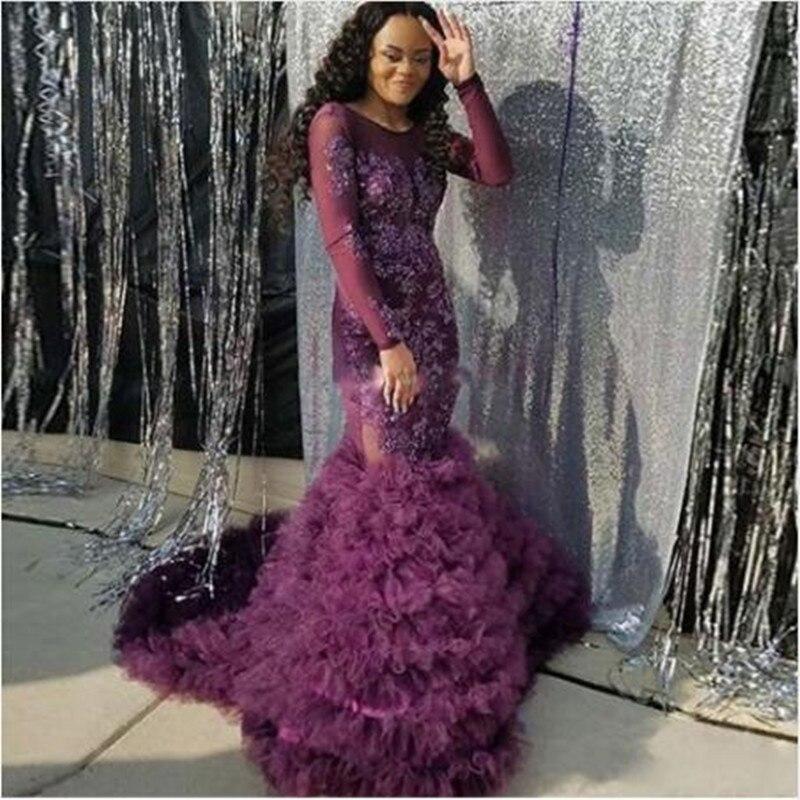 3756d0d5a Vestidos LujoSexyPara Púrpura 2019 Noche Vestido Aplique Formal Sirena  Satinado Púrpura ClubSexy Fiesta De Club bfgyY76vI